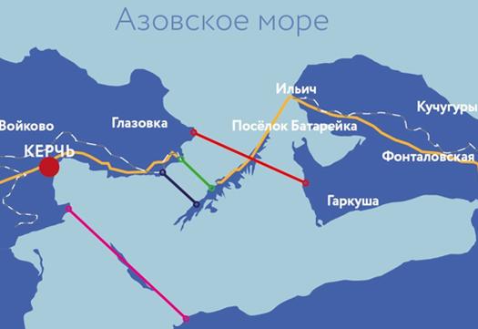 Варианты места строительства Керченского моста