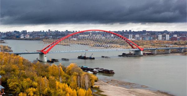 фото Бугринского моста через Обь днем